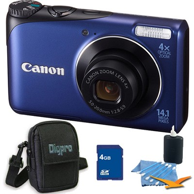 PowerShot A2200 14MP Blue Digital Camera 4GB Bundle