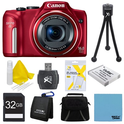 PowerShot SX170 IS 16MP Digital Camera Red Ultimate Kit