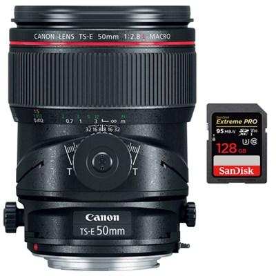 TS-E 50mm f/2.8L Macro Tilt-Shift EF-Mount Lens with 128GB Memory Card