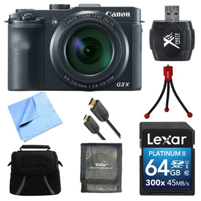Powershot G3 X Digital Compact Camera 64GB Card Bundle