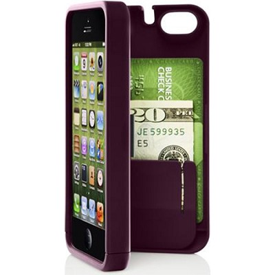 Case for iPhone 5/5s with Hinged Storage Back - Syrah