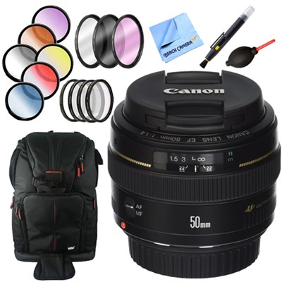 EF 50mm f/1.4 USM Standard + Medium Telephoto Lens for Canon + Accessories Kit