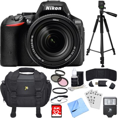 D5500 Black DSLR Camera 18-140mm Lens Filter & Flash Deluxe Bundle