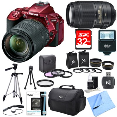 D5500 Red DSLR Camera 18-140mm Lens, 55-300 Lens, Lens Set, and Flash Bundle