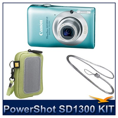 Powershot SD1300 IS 12MP Digital ELPH Camera (Green) w/ Case & Canon Neck Strap