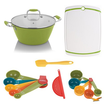 Cast Iron Yellow Lite Soup Pot with Lid, Board, and Measuring Sets Bundle