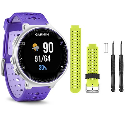 Forerunner 230 GPS Running Watch, Purple Strike - Force Yellow Watch Band Bundle
