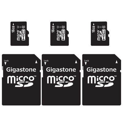 MicroSD HC 16GB C10 U1 With SD Adapter 3-Pack Bundle