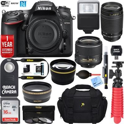 D7200 DX 24.2MP DSLR Camera Body (Certified Refurbished) +16GB Dual Lens  Bundle