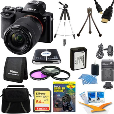 Alpha 7K a7K Digital Camera 64 GB SDHC Card Tripod and Battery Bundle