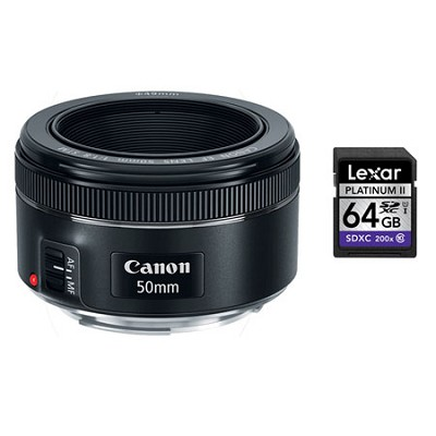 EF 50mm f/1.8 STM Prime Lens With Lexar 64GB Class 10 Card and 4% Rewards