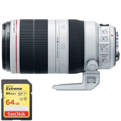 EF 100-400mm f/4.5-5.6L IS II USM Lens with Sandisk 64GB SDXC Memory Card