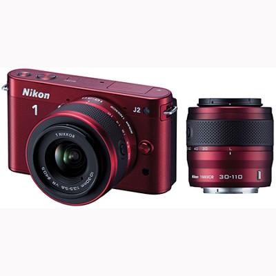 1 J2 SLR Red Digital Camera w/ 10-30mm & 30-110mm VR Lenses (27587)