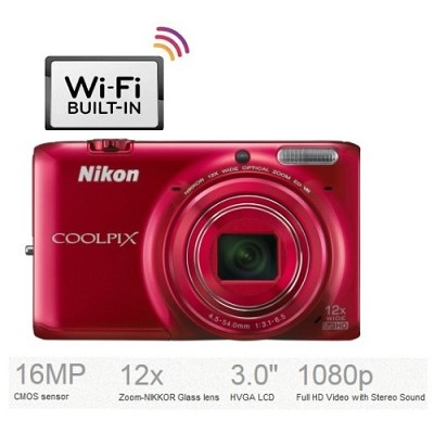 COOLPIX S6500 16MP Digital Camera 12x Optical Zoom Wi-Fi (Red) Refurbished