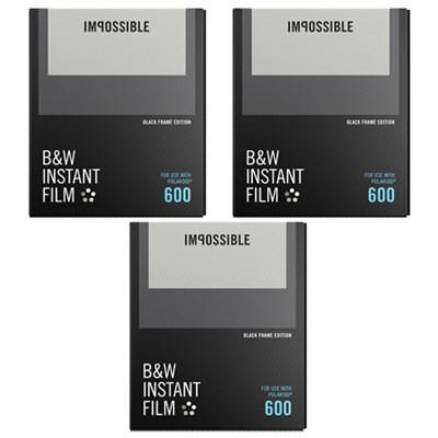 3-Pack Black & White Instant Film Black Frame for Polaroid 600 Cameras