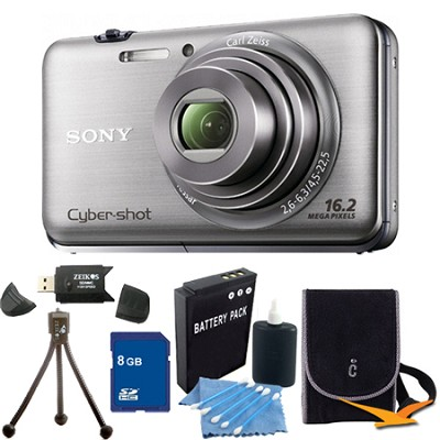 Cyber-shot DSC-WX9 Silver Digital Camera 8GB Bundle
