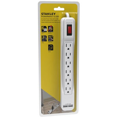 30024 PowerMax USB, 6-Outlet Power Strip with 2 USB Ports (2.1A Total)