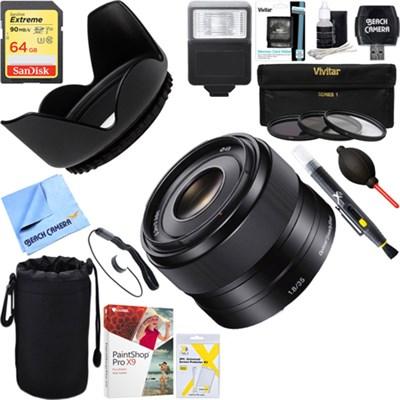 35mm f/1.8 Prime Fixed E-Mount Lens + 64GB Ultimate Kit