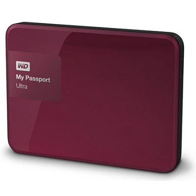 My Passport Ultra 1 TB Portable External Hard Drive, Berry