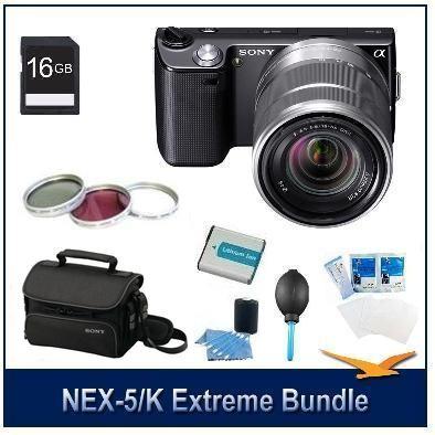 Alpha NEX-5 SLR Black Digital Camera w/ 18-55mm Lens Extreme Kit