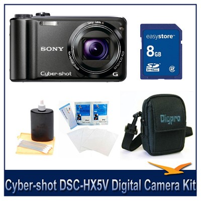 Cyber-shot DSC-HX5V 10.2 MP Digital Camera, 8GB SD Card, and Camera Case
