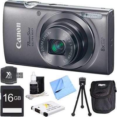 PowerShot ELPH 160 20MP 8x Opt Zoom HD Digital Camera - Silver 16GB Bundle