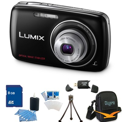 Lumix DMC-S1 12MP Compact Black Digital Camera w/ 720p HD Video 8GB Bundle