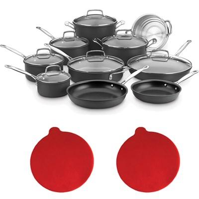 Chef's Classic Non-Stick Hard Anodized 17 Pcs Set Black w/2 Trivets