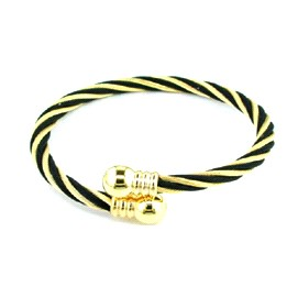 STST GOLDTONE/ BLACK STRIPPED TWISTED CABLE 8` BANGLE