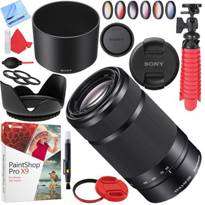SEL55210 55-210mm Zoom E-Mount Lens (Black) with 49mm Filters Kit