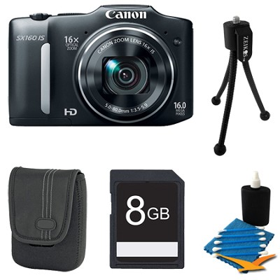 Powershot SX160 IS 16MP 16x Zoom Black Digital Camera 8GB Bundle