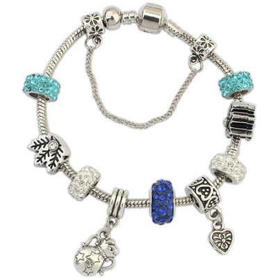 White Gold Plated Rhodium Crystal and Alloy Charm Bracelet - Blue