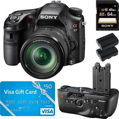 Alpha SLT-A77 DSLR Digital Camera with 18-135mm Lens,  SLT-A77V Grip Bundle Deal