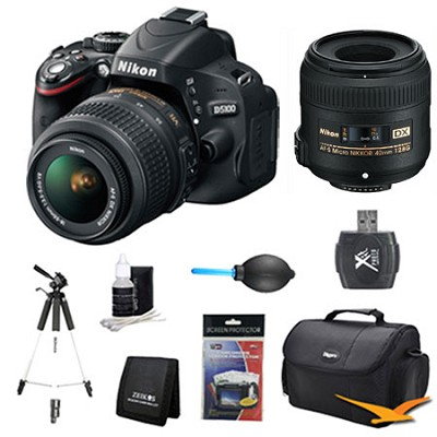 D5100 DX-format DSLR Body w/ 18-55mm VR and 40mm f/2.8G Pro Lens Bundle