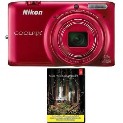 COOLPIX S6500 Camera w/12x Zoom & Wi-Fi (Red) + Adobe LR5