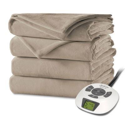 Velvet Plush Heated Blanket, Full Size, Mushroom - BSV9GFS