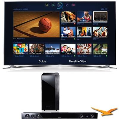 UN55F8000 55` 1080P 240hz 3D Ultra Slim LED WiFi Smart HDTV Sound Bar Bundle