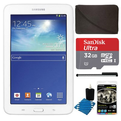 Galaxy Tab 3 Lite 7.0` White 8GB Tablet, 32GB Card, Headphones, and Case Bundle