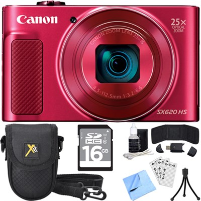 PowerShot SX620 HS 20.2MP Digital Camera Red w/ Essential Accessory Bundle