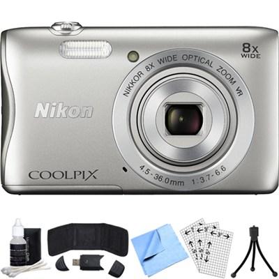 COOLPIX S3700 20.1MP Digital Camera w/ 8x Optical Zoom Lens Refurbished Bundle