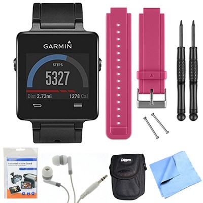 vivoactive GPS Smartwatch - Black (010-01297-00) Berry Replacement Band Bundle