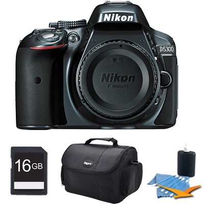 D5300 DX-Format Digital 24.2 MP SLR Body (Gray) Plus 16 GB Memory Bundle