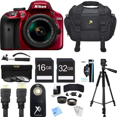 D3400 24.2 MP DSLR Camera w/ AF-P DX 18-55mm VR Lens Kit (Red) Deluxe Bundle