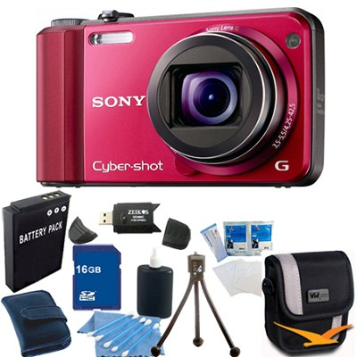 Cyber-shot DSC-H70 Red Digital Camera 16GB Bundle