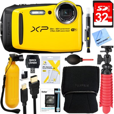 FinePix XP120 Yellow Compact Waterproof Digital Camera + 32GB Accessory Bundle