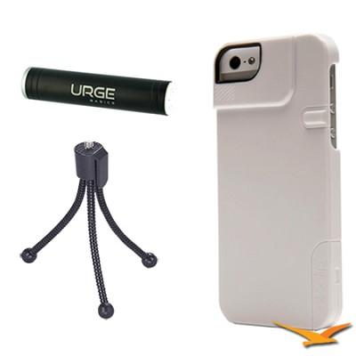 Quick Flip Case for iPhone 4/4S + Pro Photo Adapter (White) Tripod/Power Bundle