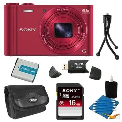 DSC-WX300/R Red Digital Camera 16GB Bundle