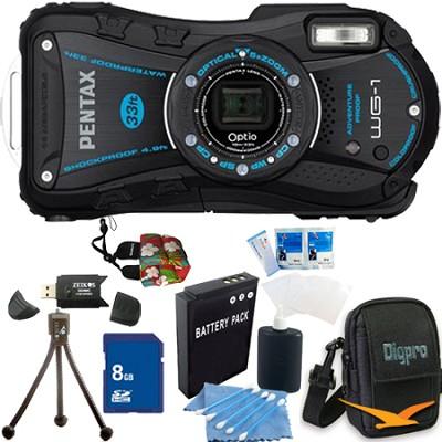 Optio WG-1 Waterproof Digital Camera - Black 8 GB Bundle