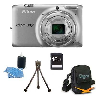 COOLPIX S6500 16 MP Digital Camera with 12x Zoom 16 GB Bundle (Silver)