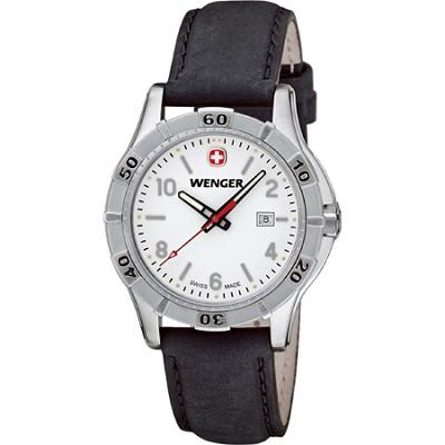 Ladies' Platoon Analog Watch - White Dial/Black Leather Strap